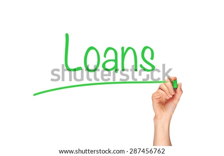 A woman's hand writing the word, Loan, on a clear screen. - stock photo