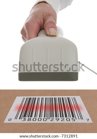 A woman scanning a barcode in a theme of buying and selling
