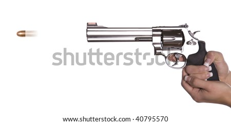 A woman shooting a gun from the side with a bullet flying out. - stock photo