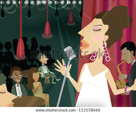 A woman singing in a night club with an audience
