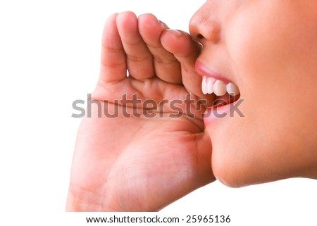 A woman spreads news. - stock photo
