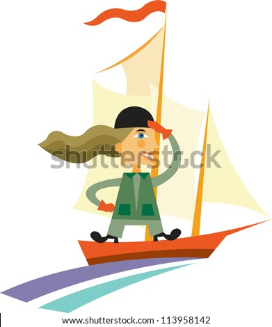 A woman standing on a sail boat and looking into the distance