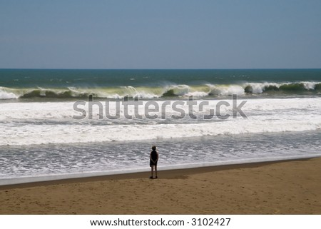 A woman standing on the beach watching large waves - stock photo