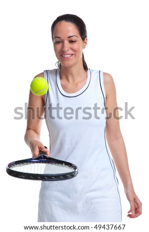 A woman tennis player bouncing the ball on the racket, isolated on a white background. - stock photo