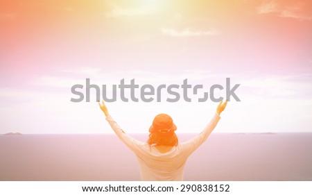 A woman thank God - stock photo