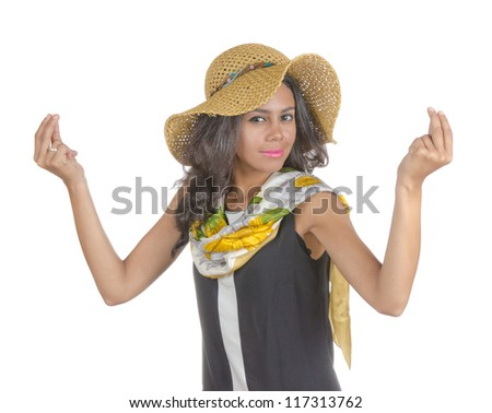 A woman (tourist ) with a hat. Isolated on white. - stock photo