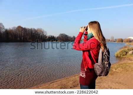 a Woman traveler, Travel, Tourist, Vacation nature - stock photo