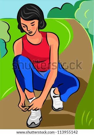 A woman tying her shoelace before running on a pathway - stock photo