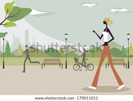 A woman walking in a park while another woman runs in the distance. - stock photo