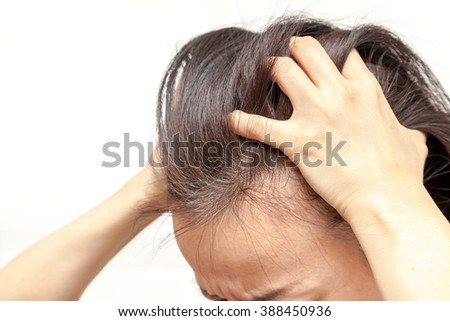 A woman who has grey hair on white background isolated
