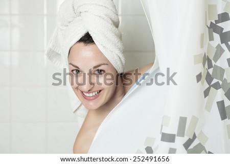 A woman who take shower. - stock photo