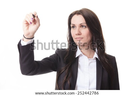 A woman who write something with is hand on organigram - stock photo