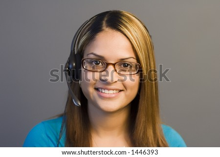 A woman with a headset