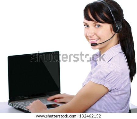 A woman with a laptop and headset , isolated on white background