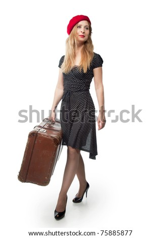 A woman with a suitcase on a white background