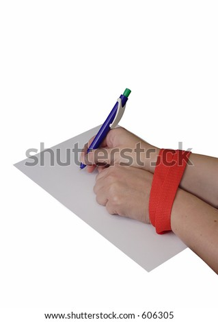 A woman with ands tied by red tape - stock photo