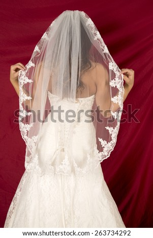 A woman with her back to the camera, holding out her veil. - stock photo