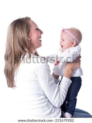 A woman with her daughter, six-month