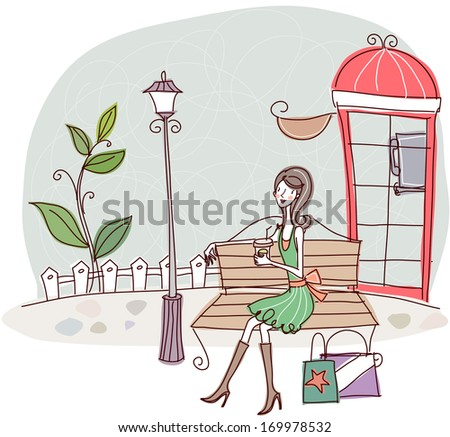 A woman with shopping bags sits on a bench next to a telephone booth.