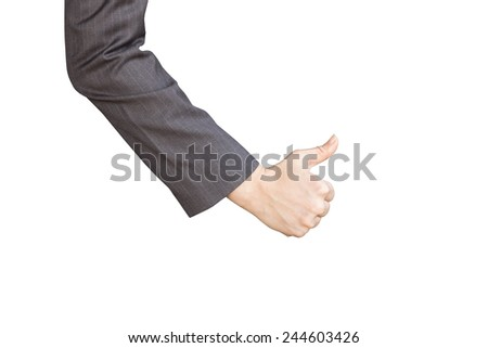 A woman with thumb up hand isolated on white background - stock photo