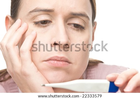 A woman worried by medical results on a white background