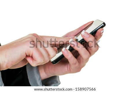 a woman writes a text message on a cell phone. fast communication by mobile phone. - stock photo