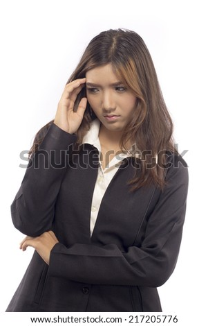 a women banging his head realizing a mistake - stock photo
