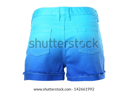 A women jeans shorts isolated on a white background. Back. - stock photo
