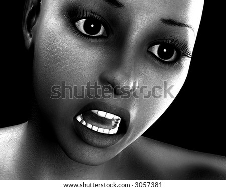 A women's face, which is experiencing some fear.