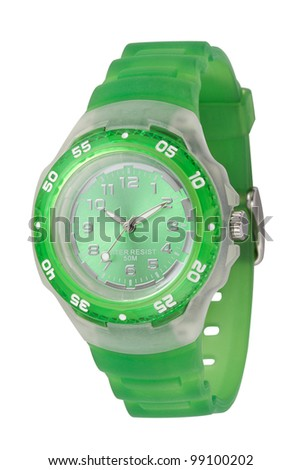 A women wristwatch with green silicone strap - stock photo