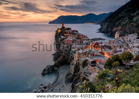 A wonderful aerial view of Vernazza village at sunset. Vernazza is one of the five villages of Cinque Terre (five lands) in Liguria, Italy. Long exposure effect