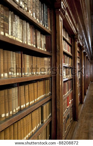 a wonderful library of old books - stock photo