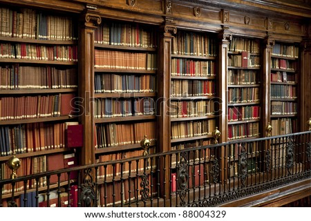 a wonderful library of old books in Spain - stock photo
