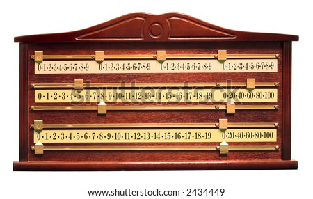 A wood and brass snooker score board - stock photo