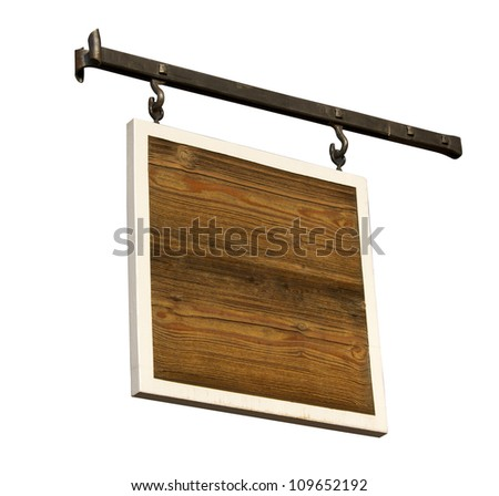 A wood board with a white frame hanging on rod iron - stock photo