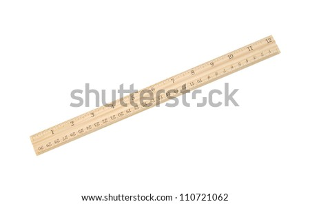 A wood ruler isolated over a white background - stock photo