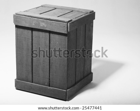 a wooden box on the white background - stock photo