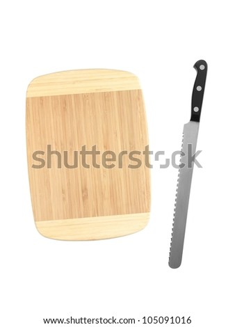 A wooden chopping board isolated on white - stock photo