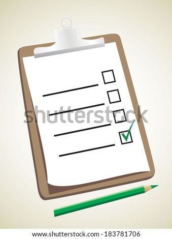 A wooden clipboard holding a ticked checklist and a pencil - stock photo