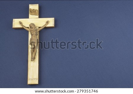 A wooden crucifix with the lettering INRI - stock photo