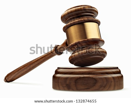 A wooden judge gavel and soundboard isolated on white background in perspective