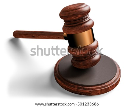 A wooden judge gavel isolated on white background. 3D illustration. High resolution