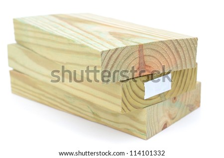 A wooden lumbers stacking - stock photo