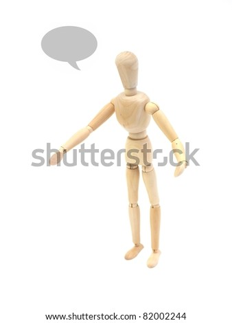 A wooden manikin isolated on a white background