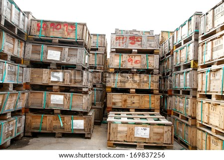 A wooden pallets bunch in warehouse - stock photo
