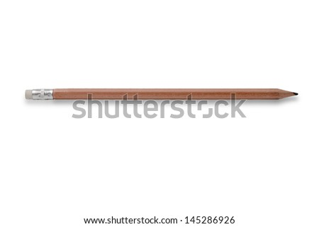 A wooden pencil, isolated on white