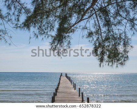 A wooden pier or jetty on Ao Phrao Beach on Ko Kut island, east Thailand