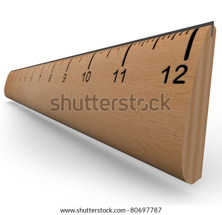 A wooden ruler with numbers and increment markings in a 3d rendering with shadow on white background - stock photo