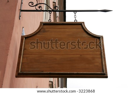 a wooden sign - stock photo