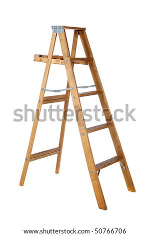 A wooden stepladder on a white background with copy space - stock photo